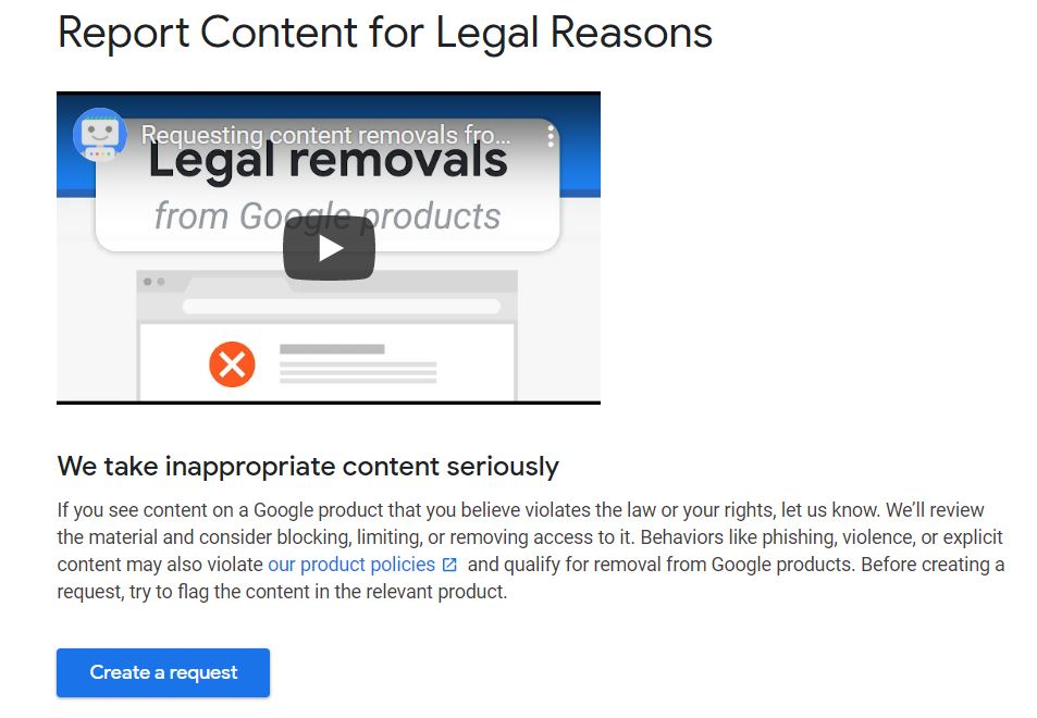Report Content for Legal Reasons