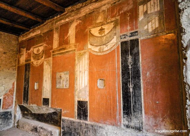 Afresco em uma casa no Sítio Arqueológico de Pompeia