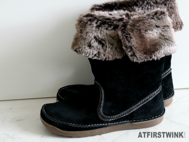 Clarks Nettle Ice Black Suede Boots folded fur