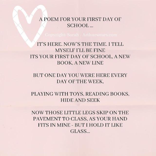 starting school poem first day of school