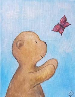 Kuva maalauksesta, missä nalle ja perhonen / Teddy bear and butterfly painting