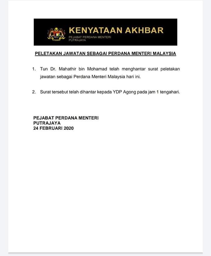 Tun Dr. Mahathir Meletakkan Jawatan Perdana Menteri ke-7