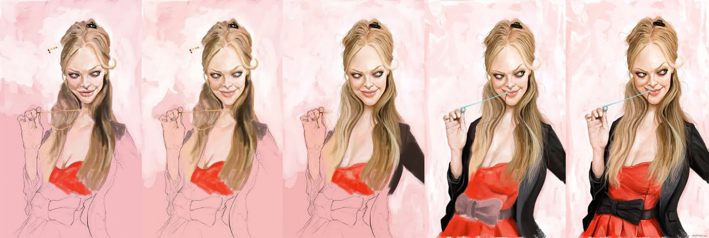 "Color process, caricature of ""Amanda Seyfried"" by Cosmin Podar"