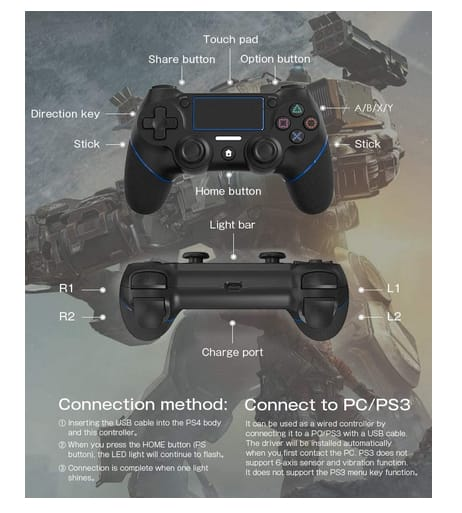 AVIDET Replacement Wireless Controller for Ps4