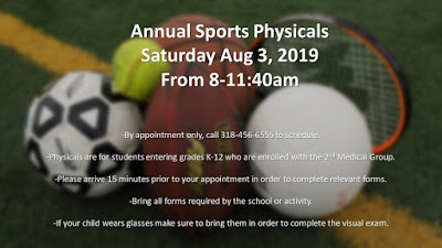 Schedule school and sports physicals for Barksdale students K-12 enrolled with 2nd Medical Group