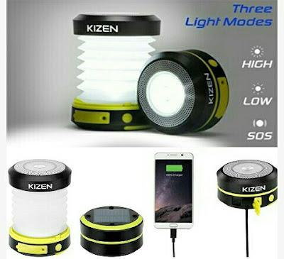 Kizen LED Lamp: Collapsible Solar Powered Rechargeable Lantern
