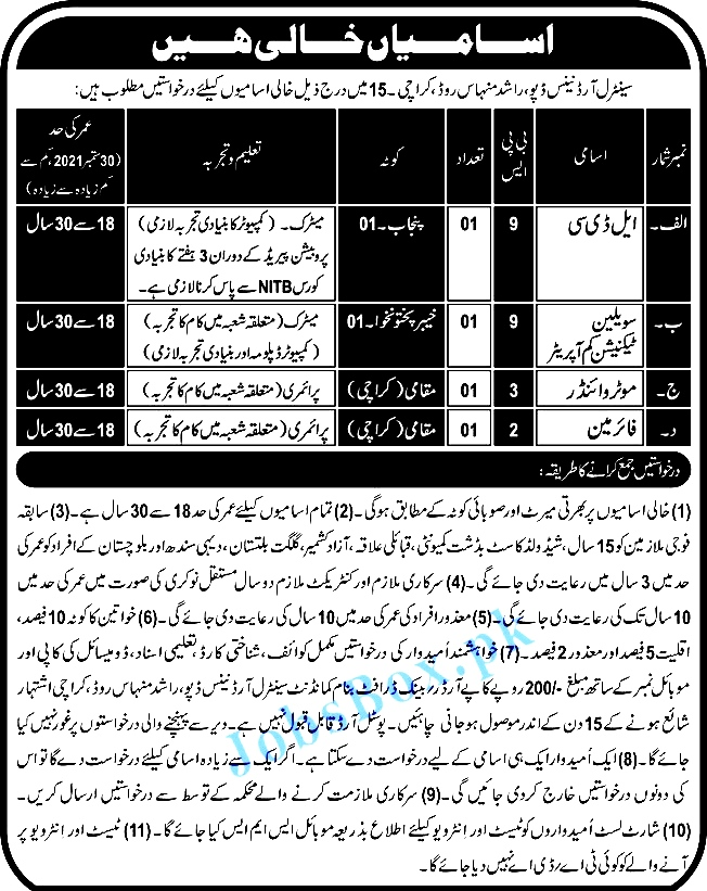 New Jobs in Pak Army Central Ordnance Depot COD 2021 September