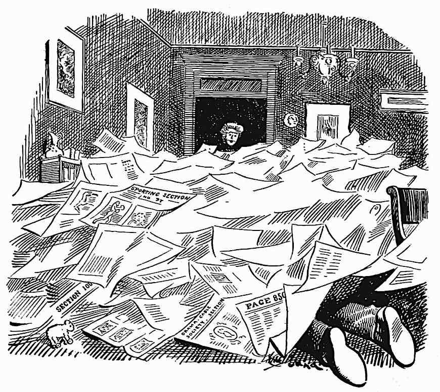 a 1909 cartoon of a reader buried under paper