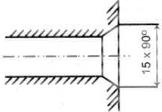 Gambar penunjukan ukuran champer dengan sudut kemiringan 40° diameter dalam benda
