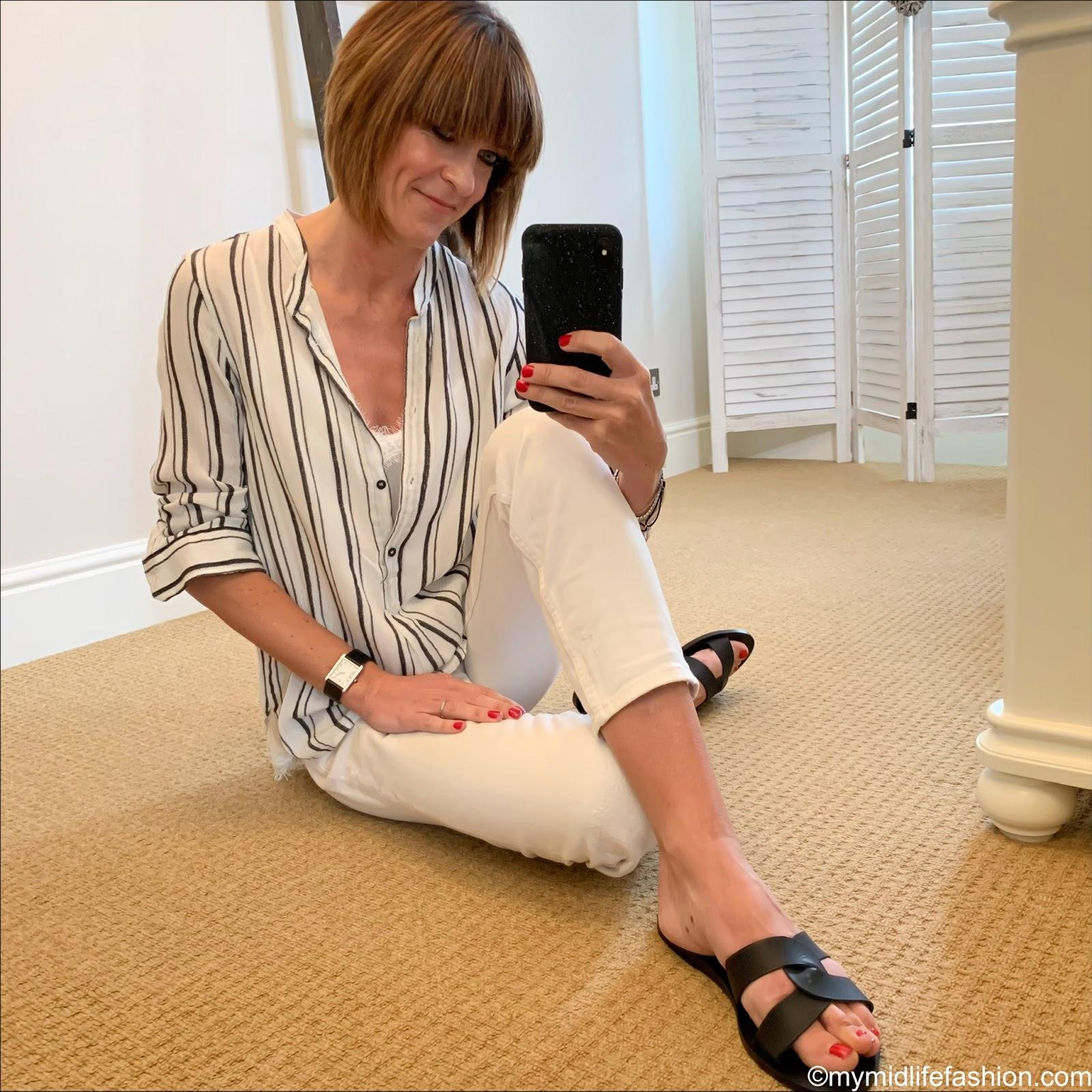 my midlife fashion, Ancient Greek desmos leather slides, Isabel Marant Etoile stripe linen shirt, Zara lace trim camisole, Zara cigarette jeans