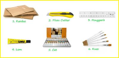 Daftar alat dan bahan untuk membuat rumah dari kardus