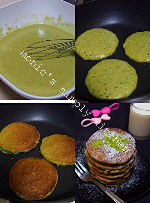 cara buat oatmeal green tea pancakes