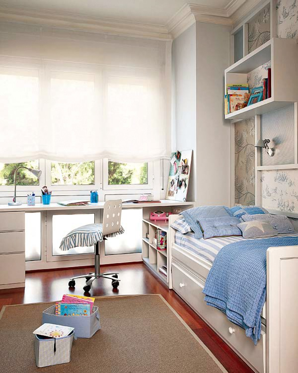 Camera copilului n alb i albastru jurnal de design interior - Como distribuir una habitacion ...
