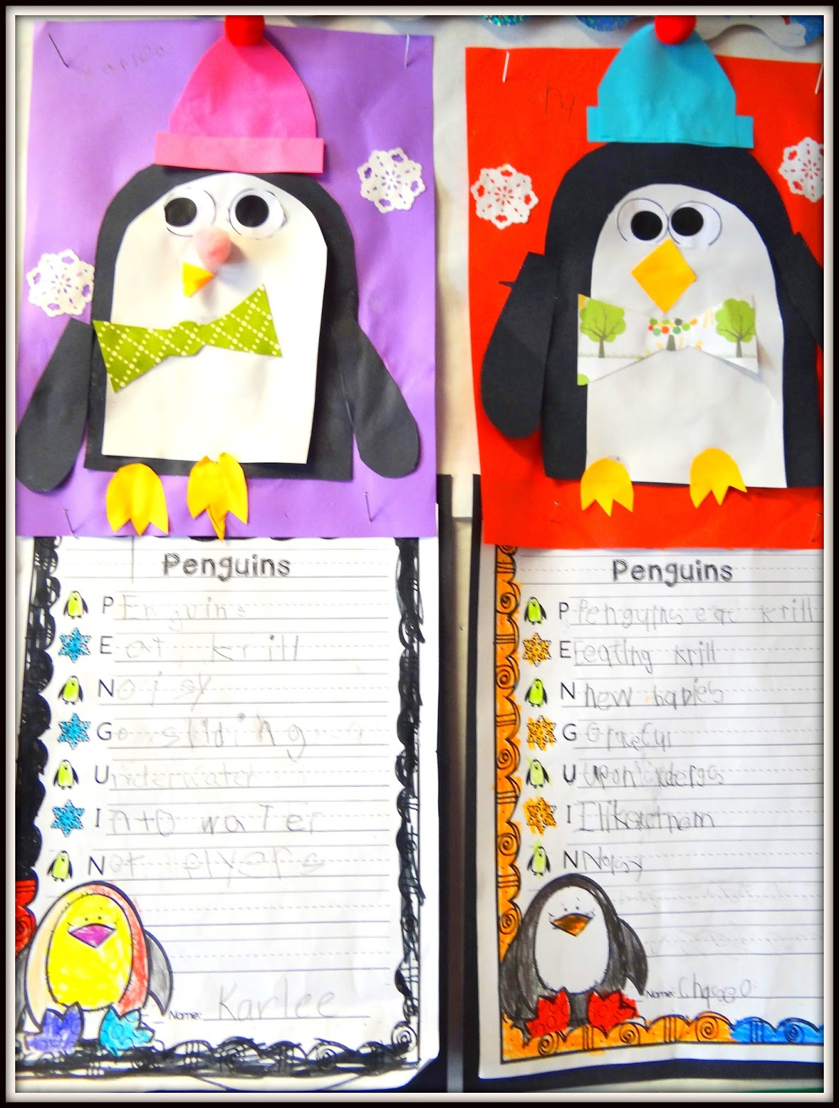 Patties Classroom Penguin Art And Acrostic Poems