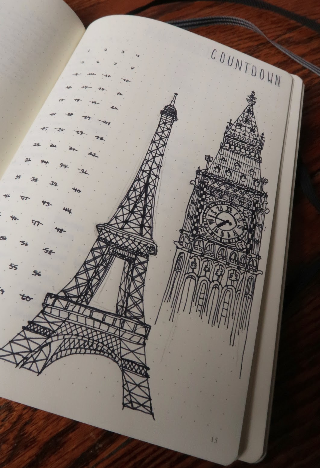 bullet journal trip travel countdown eiffel tower big ben clock sketch drawing pen line plan