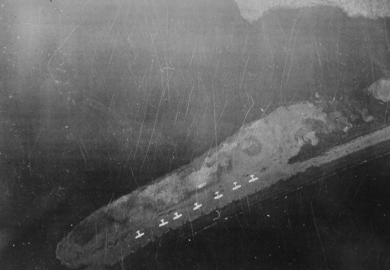Decoy aircraft are laid out by occupying Japanese forces on a shoreline on Kiska Island on June 18, 1942.