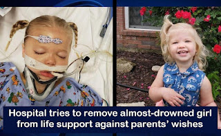 Hospital tries to remove almost-drowned girl from life support against parents' wishes