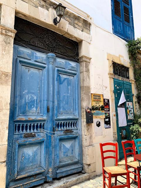 Blue shabby door Limmasol, Cyprus