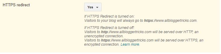 Enable Force HTTPS Redirect