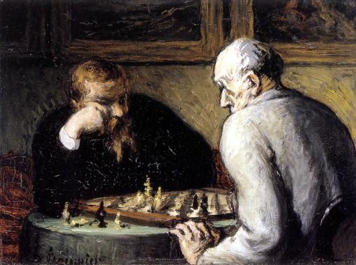 Les Joueurs d'échecs d'Honoré Daumier (1863)