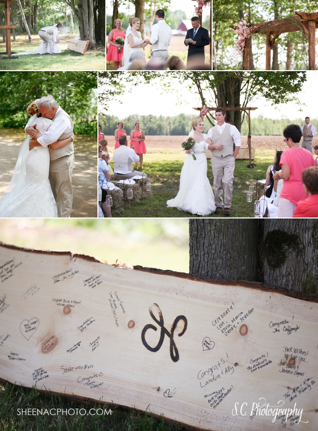 Custom branded bench wedding, country wedding, beaverton michigan wedding photographer