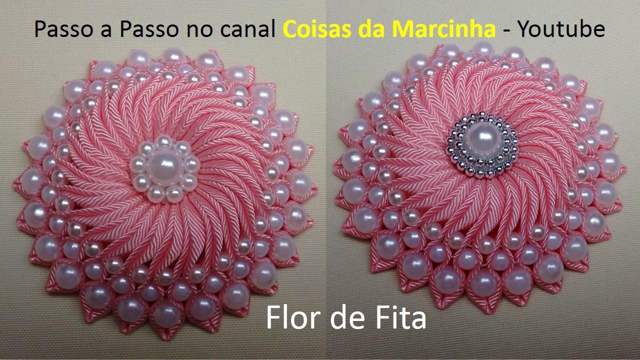 Wilma Crochê: Flor de Fita com Pérolas