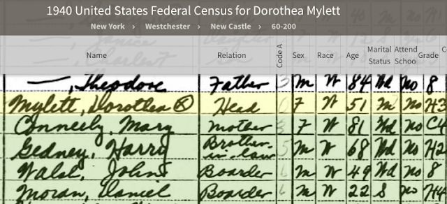 Dorothea S. Mylett, Mary Conneely, Harry Gedney, John Walsh, Daniel Moran on 1940 US Census