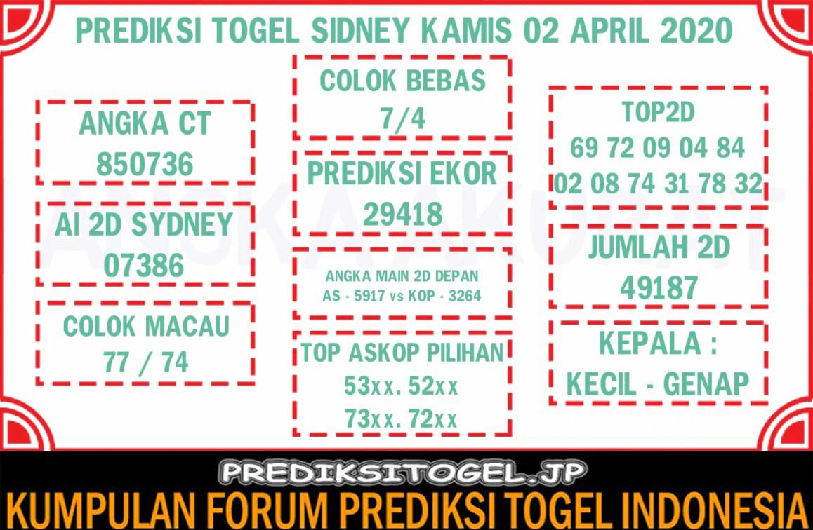 Prediksi Togel Sidney Kamis 02 April 2020 - Prediksi Togel JP