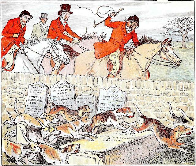 Randolph Caldecott, a fox hunt running over graves