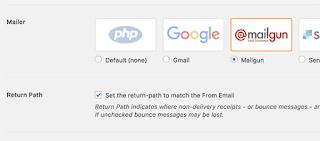 Seleccione Mailgun como su correo
