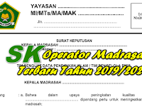 SK Operator Madrasah Terbaru Tahun 2019/2020