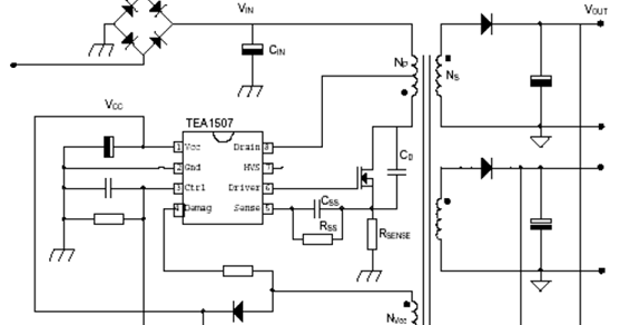 Power supply with driver TEA1507