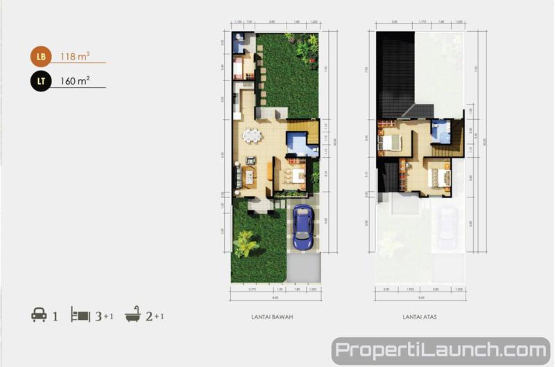 Denah Rumah Tipe Delphina Cluster Daru Suvarna Sutera
