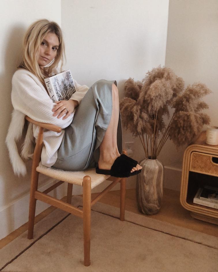Jenni Kayne slip skirt, pacific natural book, jenni kayne shearling slide sandal, jenni kayne slip skirt, cocoon cardigan