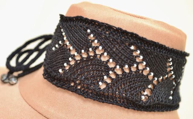 Beaded Lace Choker Free Knitting Pattern
