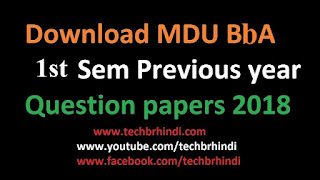BBA 1st Sem Previous Year Question Papers Mdu 2017