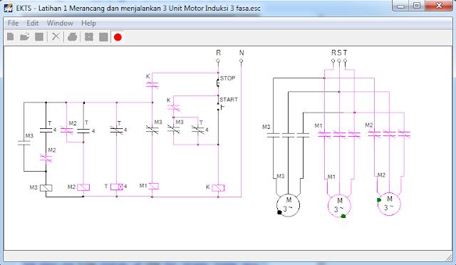 Tampak tampilan Diagram Kontrol & daya motor induksi 3 fasa