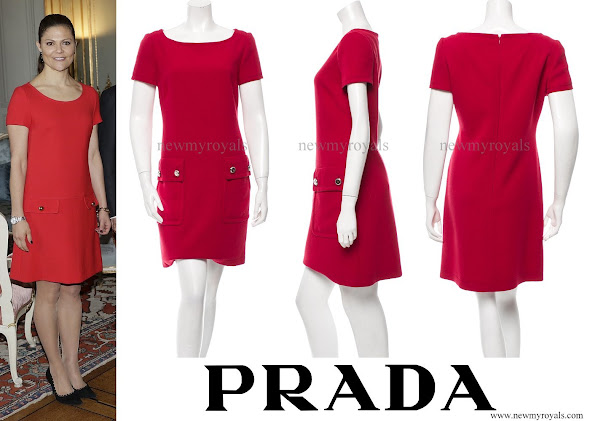 Crown Princess Victoria wears Prada Short Sleeve Mini Dress