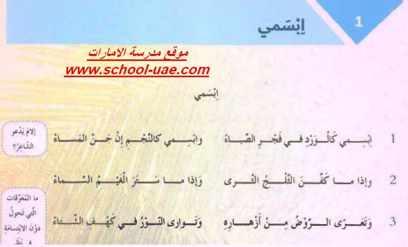 بوربوينت درس ابسمى اللغة العربية للصف السادس الفصل الدراسى الثانى 2020 - مدرسة الامارات