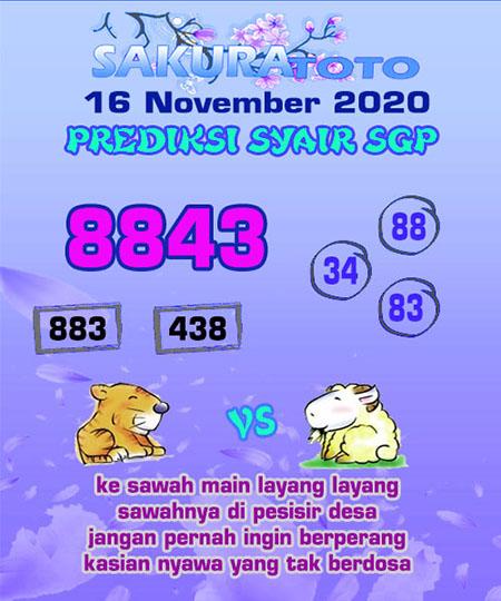 Prediksi Sakuratoto SGP Senin 16 November 2020