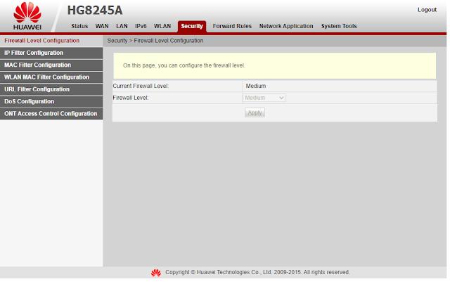 Modem Indihome Huawei HG8245H Setting Firewall