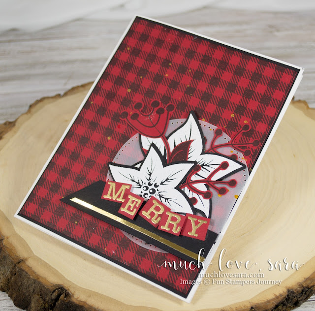 Handmade Christmas Card with red and black plaid background - created wth the Fun Stampers Journey Flannel Life Background Stamp - and gold and white accents - created with the FSJ Poinsettia Burst Stamp Set, Type Block ATS Stamp Set, and white and gold heat embossing.