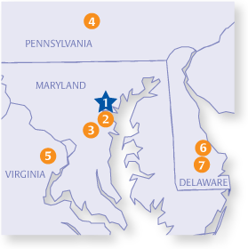 Locations In Pennsylvania, Maryland, Delaware & Virginia