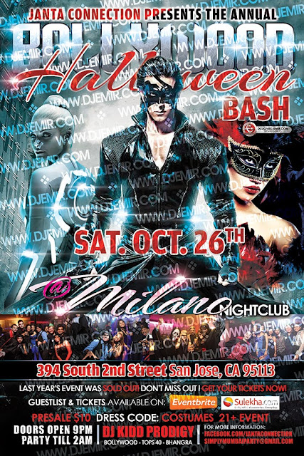 Bollywood Halloween Bash and Costume / Masquerade Ball Flyer design