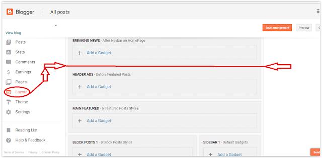 blogger layout option