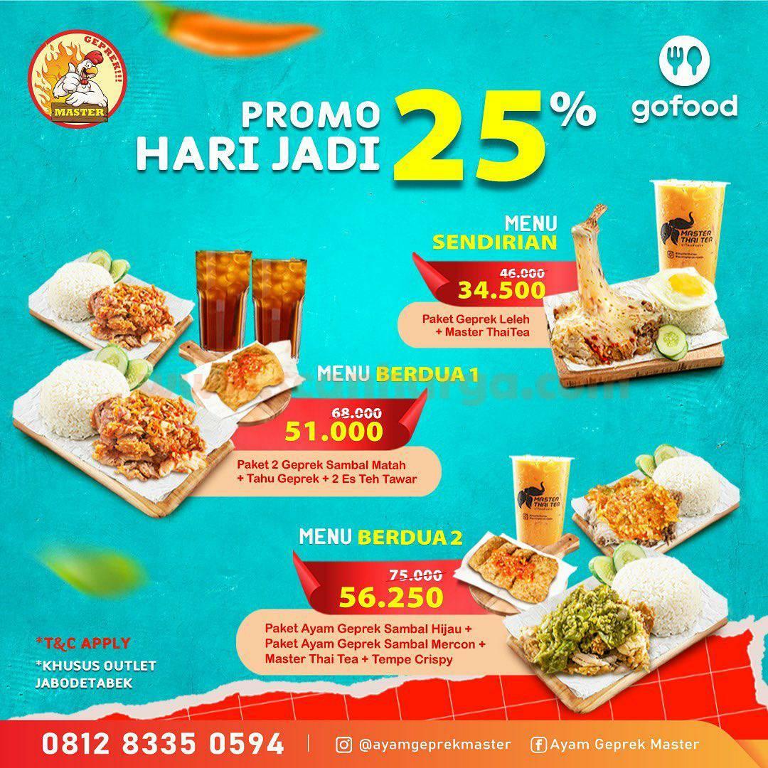 Promo Ayam Geprek Master Hari Jadi Go Food Diskon 25%