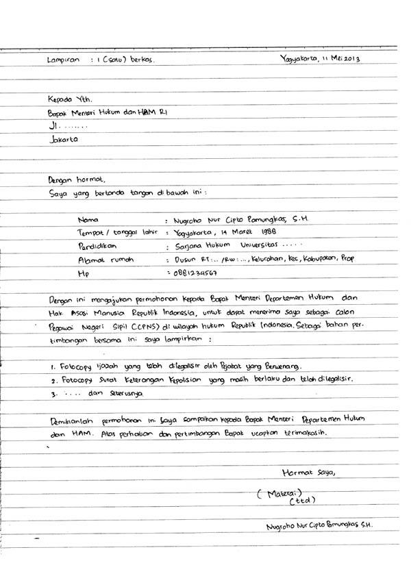 5 Contoh Surat Lamaran Kerja Tulisan Tangan Yang Benar