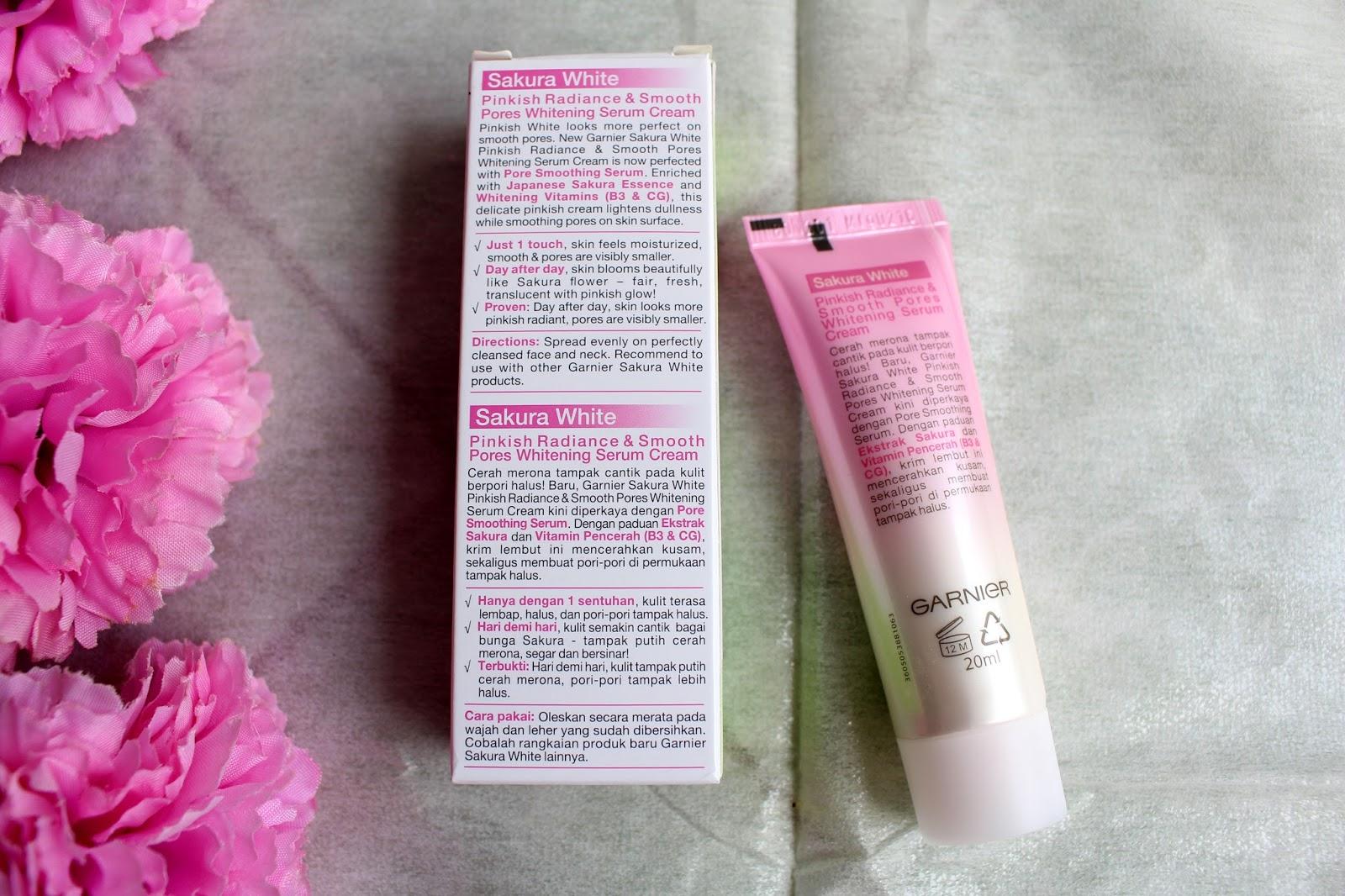 Garnier Sakura White Whitening Serum Night Cream Daftar Harga 18ml Spf21 Ingrendients Pinnkish Radiance And Smooth