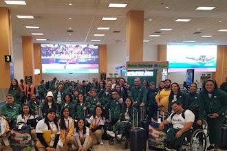Delegação brasileira entra na Vila dos Atletas dos Jogos Parapan-Americanos, em Lima
