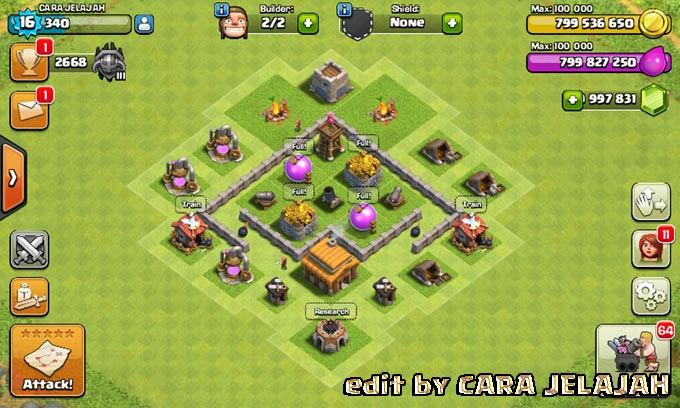 Desain Base Hybrid Clash Of Clans Town Hall 3 Update Terbaru 13